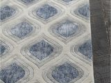 White Rug with Blue Pattern Clara Collection Hand Tufted area Rug In Blue Grey White