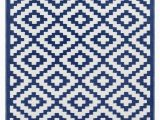 White Rug with Blue Pattern Nirvana Outdoor Recycled Plastic Rug Navy Blue White