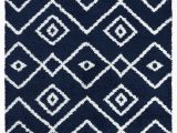 White Rug with Blue Pattern Vienna Collection Modern Geometric Shaggy area Rug G3716 Dark Blue White