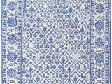 White Rug with Blue Vintage Blue and White Indian Agra Cotton Rug 48300