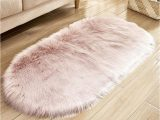White soft Fluffy area Rug Shop Oval Shape soft Fluffy area Rugs Pink 50x120centimeter Online In Dubai Abu Dhabi and All Uae