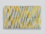 Yellow and Grey Bath Rug Chunky Bobble Bath Mat 80cm X 50cm