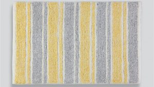 Yellow and Grey Bath Rug Stripe Bath Mat 80cm X 50cm
