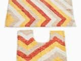 Yellow and White Bath Rug Pack 2 Zarie Plush Bath Mat with Contour Mat Yellow White Red