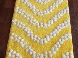 Yellow and White Bath Rug Rugs2clear Yellow & White Bobble Cotton Rectangular Bath Rug