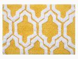 Yellow and White Bath Rug Saffron Fabs Quatrefoil 24 X 17