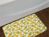 Yellow and White Bathroom Rug Pineapples Yellow and White Bath Rug