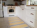 Yellow and White Bathroom Rug Yellow and White Striped Small Rug Yellow and Gray Cotton