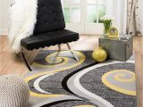 """Yellow Grey Black area Rug Summit 39 Yellow Grey Swirl area Rug Modern Abstract Many Sizes Available 7 4"""" X 10 6"""""""